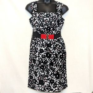 London Times holiday red dress with belt, size 12